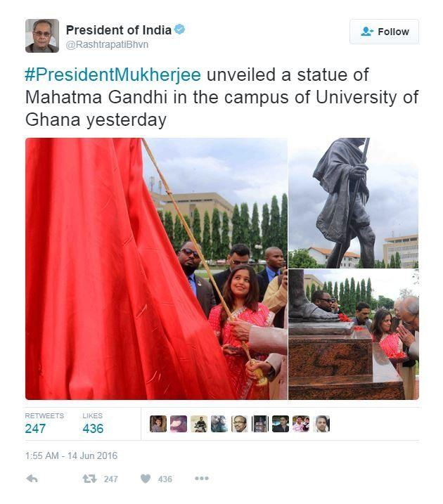 #PresidentMukherjee unveiled a statue of Mahatma Gandhi in the campus of University of Ghana yesterday