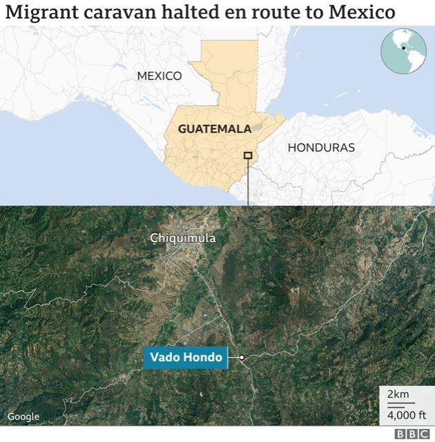 Map of where the migrants and security forces clashed