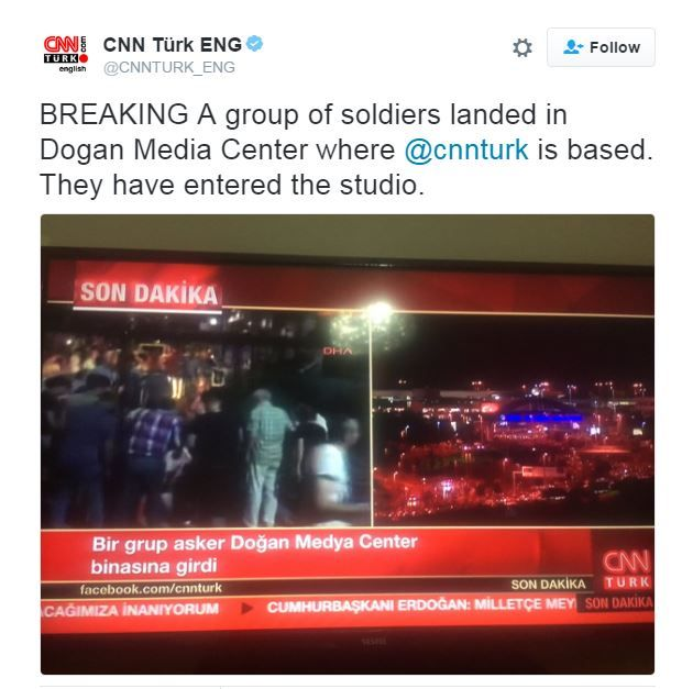 A tweet from CNN Turk's English Twitter account reporting the raid