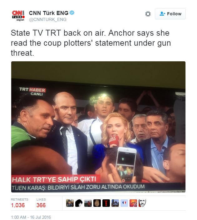 A tweet said a journalist for broadcaster TRT said she was made to read a statement by the plotters at gun point
