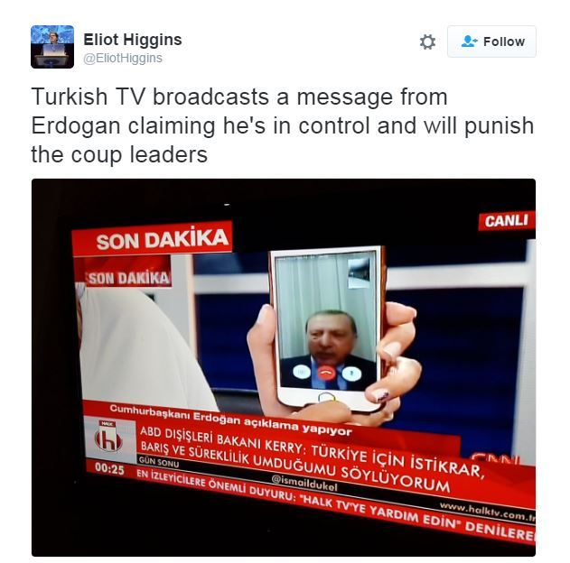 A tweet shows Erdogan speaking to CNN turk via Skype
