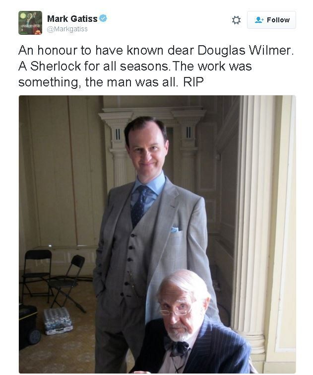 Mark Gatiss with Douglas Wilmer - photograph shared on Twitter