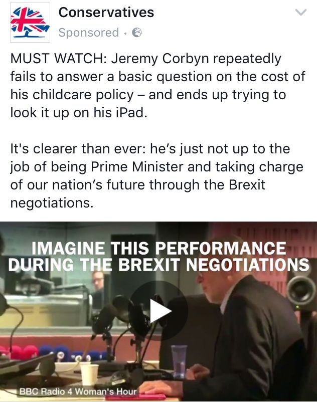 Conservative advert highlighting Corbyn's appearance on Woman's Hour