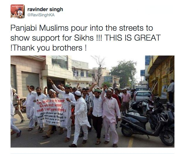 Sikhs have been posting pictures of the protests across India and rallying support online