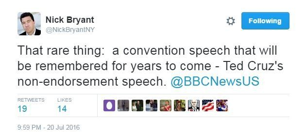 """Nick Bryant tweets: """"That rare thing: a convention speech that will be remembered for years to come - Ted Cruz's non-endorsement speech"""""""