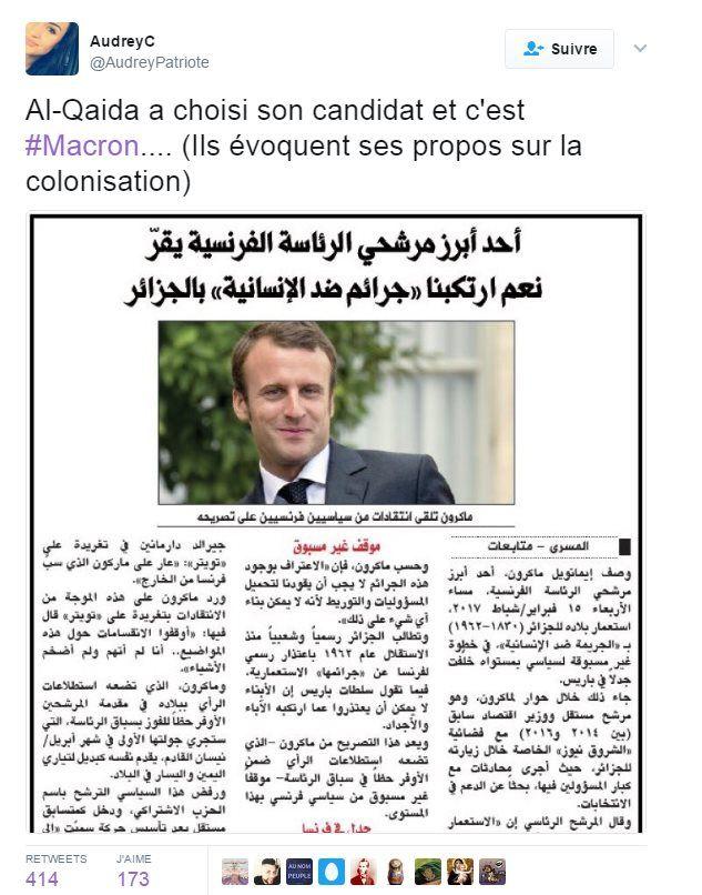 Screenshot of Twitter account stating: Al-Qaeda has chosen its candidate and it is #Macron…