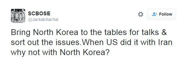 @Jackalchachal tweets: Bring North Korea to the tables for talks & sort out the issues.When US did it with Iran why not with North Korea?