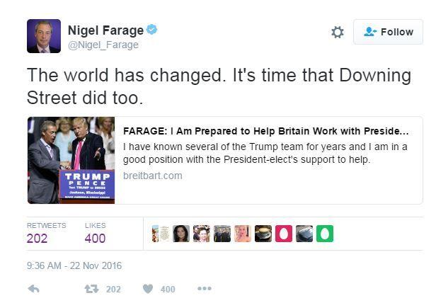 Nigel Farage tweets