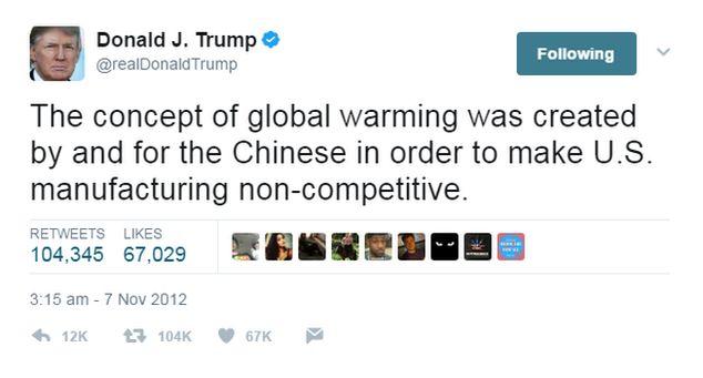 Donald Trump tweet on climate change