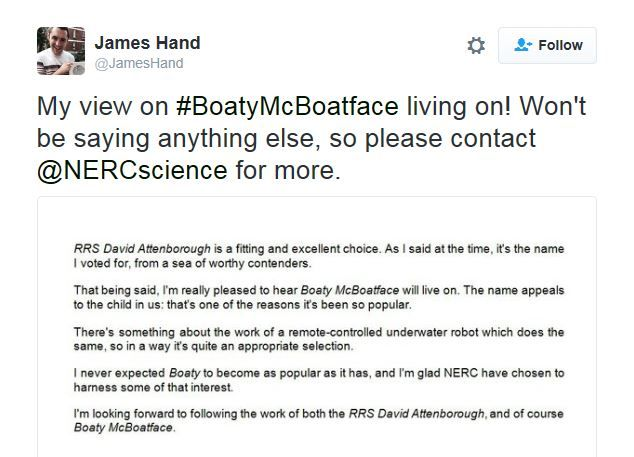 Tweet from person who suggested Boaty McBoatface