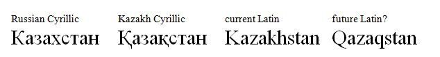 The different spellings of Kazakhstan in all its alphabet are very confusing.