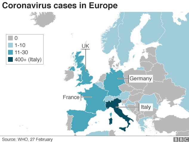 Europe coronavirus map