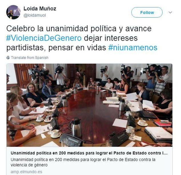 """Loida Muñoz tweets: """"I welcome the political unanimity and advance... leave partisan interests behind, think about lives"""""""