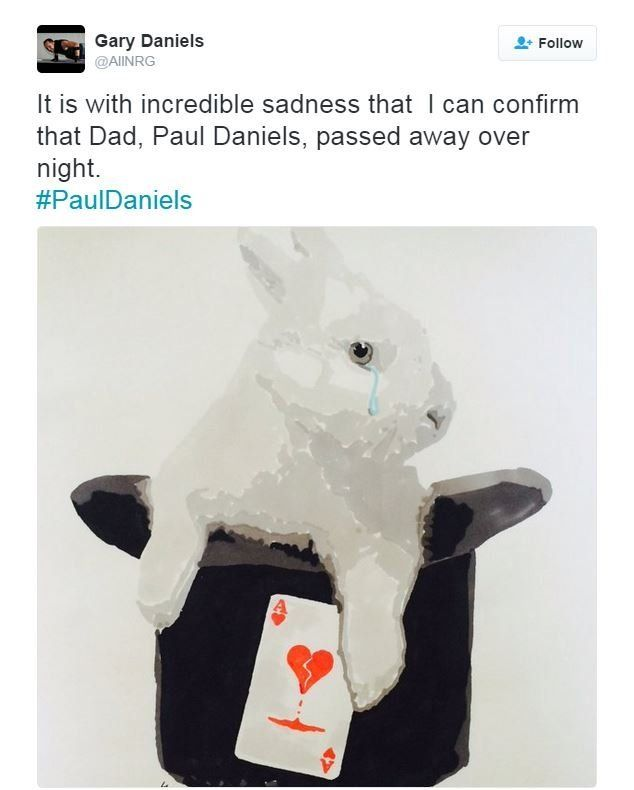 """Gary Daniels wrote: """"It is with incredible sadness that I can confirm that Dad, Paul Daniels, passed away overnight."""""""