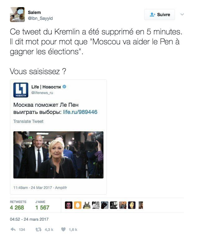Screenshot of a tweet that started rumours of the Kremlin's support for the presidential candidate, Marine Le Pen
