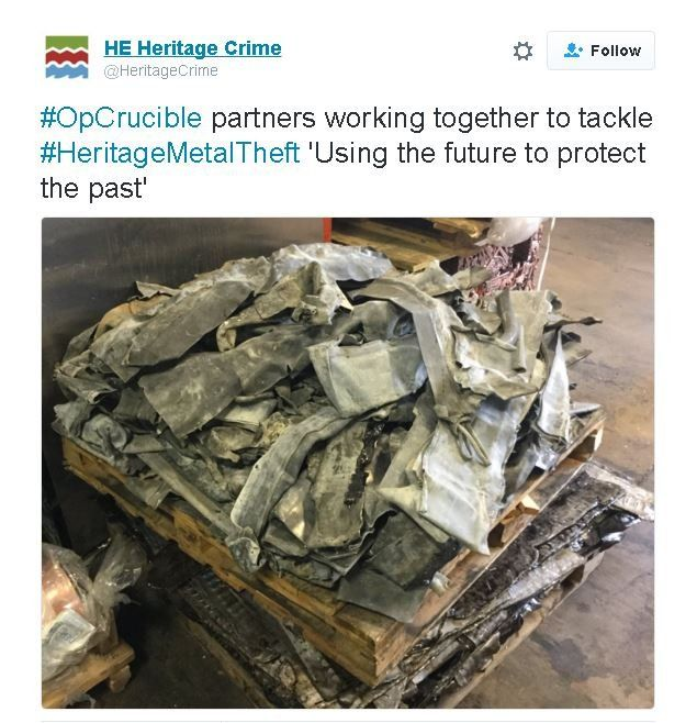 Heritage England picture from Twitter showing pile of stolen metal