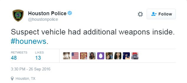 "Houston Police tweet reading ""Suspect vehicle had additional weapons inside"""