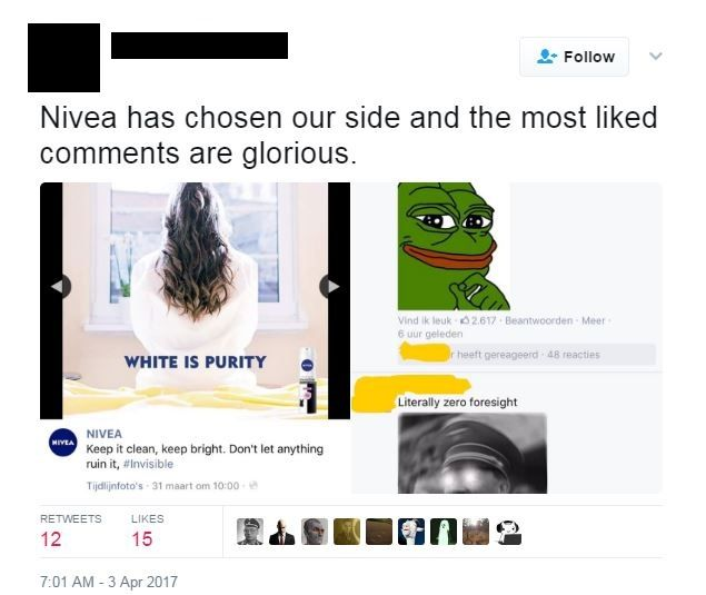 'Nivea has chosen our side and the most liked comments are glorious' alongside the advert, and a pepe and hitler meme