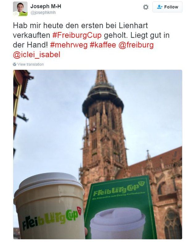 """Twitter user @josephkmh wrote: """"Today I got the first #FreiburgCup sold at Lienhart. Fits comfortably in your hand!"""""""