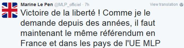 Marine Le Pen's tweet (in French)