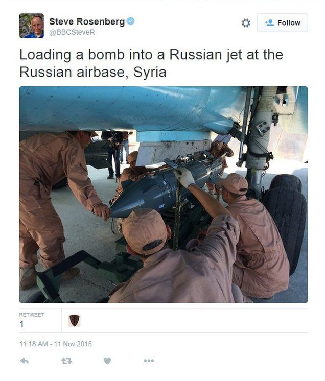 "The BBC's Steve Rosenberg tweets: ""Loading a bomb into a Russian jet at the Russian air base, Syria"""