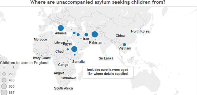 Interactive map showing where unaccompanied asylum-seeking children are from