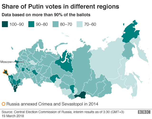 Map showing share of Putin votes in different regions