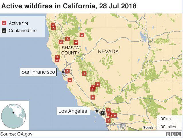 Carr fire: California blaze leaves five dead - BBC News on