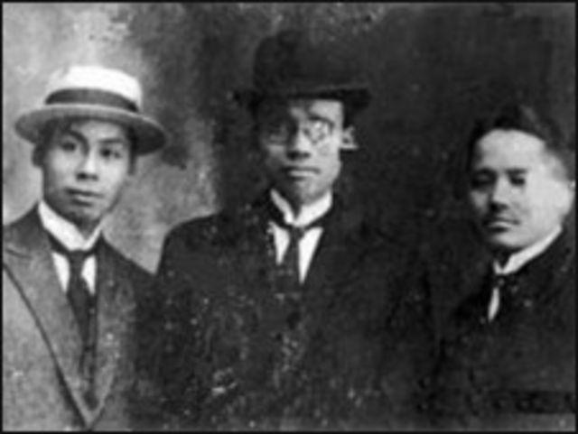 Từ trái sang, các ông Nguyễn Văn Vĩnh, Phạm Quỳnh, Phạm Duy Tốn (1922)