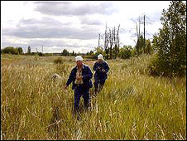 Investigadores en Chernobyl