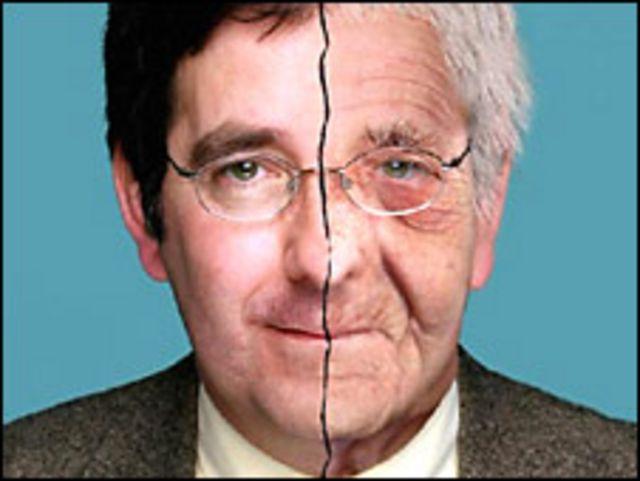 Tom Kirkwood, imagen manipulada de su rostro en 2001, y como sería de anciano. Archivo