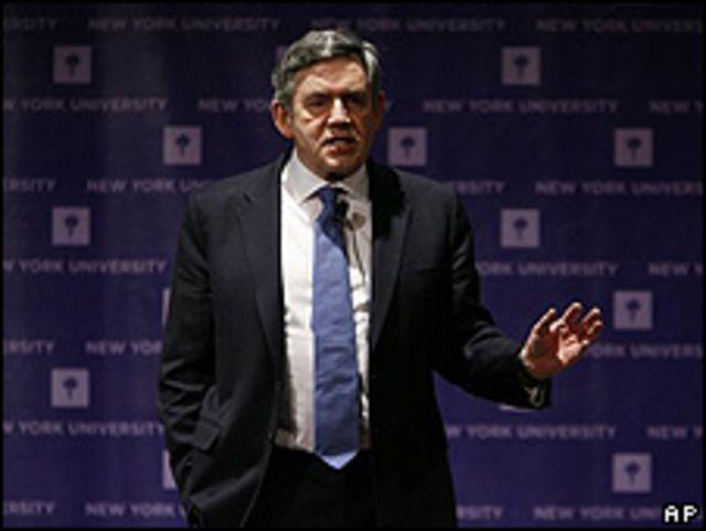 Gordon Brown, primer ministro británico, en Nueva York