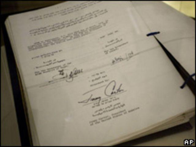 Original del tratado de paz entre Israel y Egipto