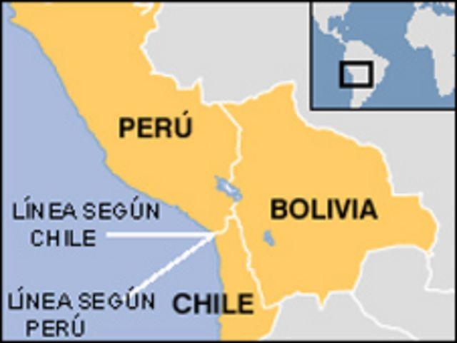 Mapa de Chile, Perú y Bolivia