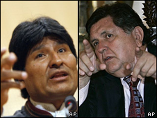 Evo Morales, presidente de Bolivia y Alan García, presidente de Perú