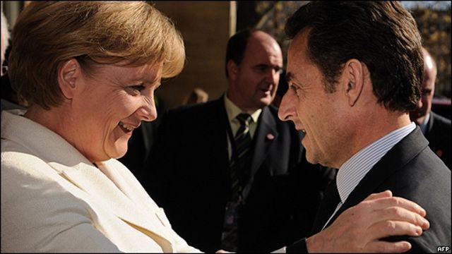 Nicolas Sarkozy, presidente de Francia, y Angela Merkel, canciller alemana