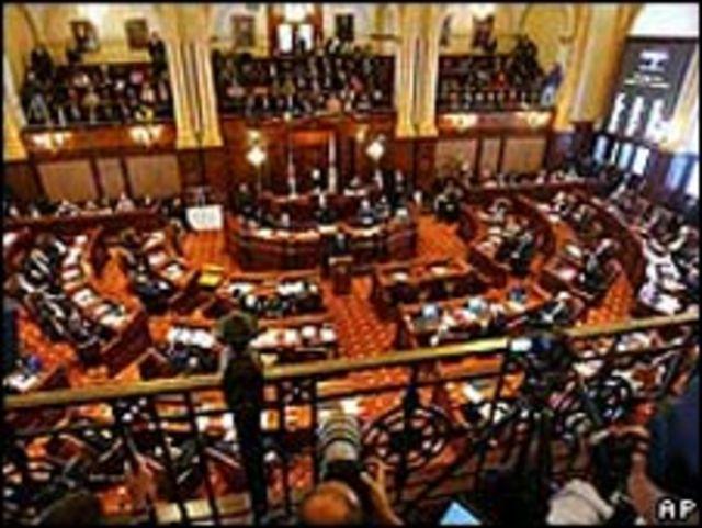 Deliberaciones en el Senado estatal de Illinois durante el juicio político contra Rod Blagojevich
