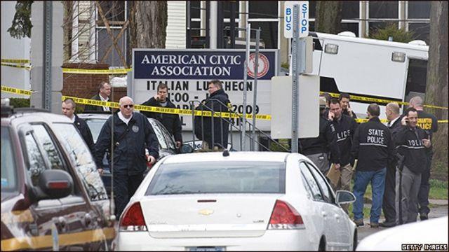 Operativo de seguridad en la American Civic Association, en Binghamton