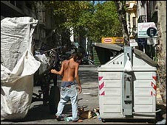 Recolector de basura en Montevideo.