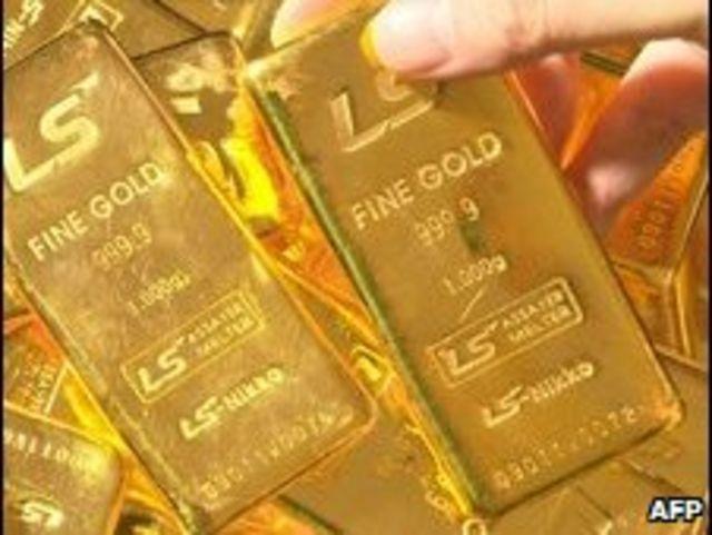 Barras de mil gramos de oro puro