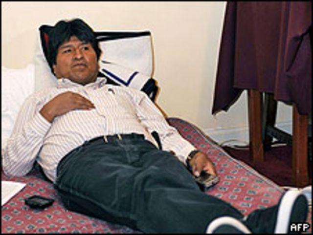 Evo Morales en su tercer día de huelga de hambre.