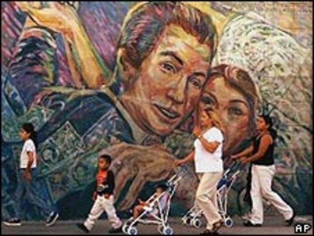 Familia hispana en Los Ángeles.