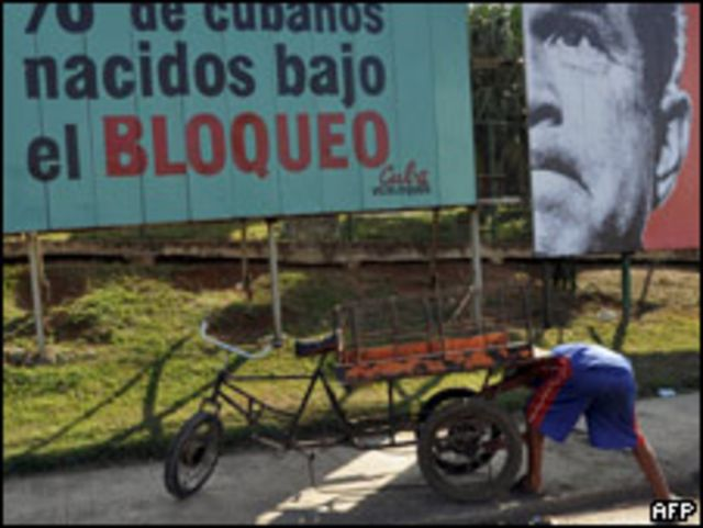 Cartel en Cuba contra el embargo