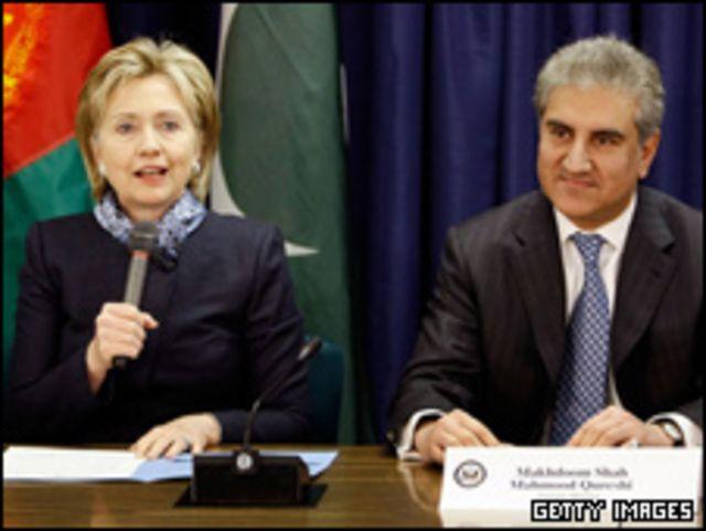قریشی و کلینتون وزیران خارجه پاکستان و آمریکا