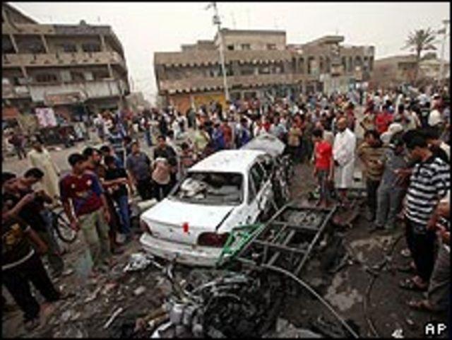 Una de las auto bombas que explotaron en Bagdad.