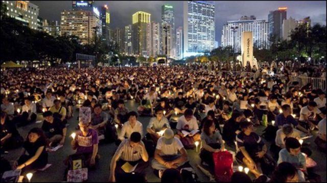 Hong Kong là nơi duy nhất thuộc Trung Quốc được phép thắp nến tưởng nhớ biến cố Thiên An Môn (ảnh chụp ngày 4.6.2008)