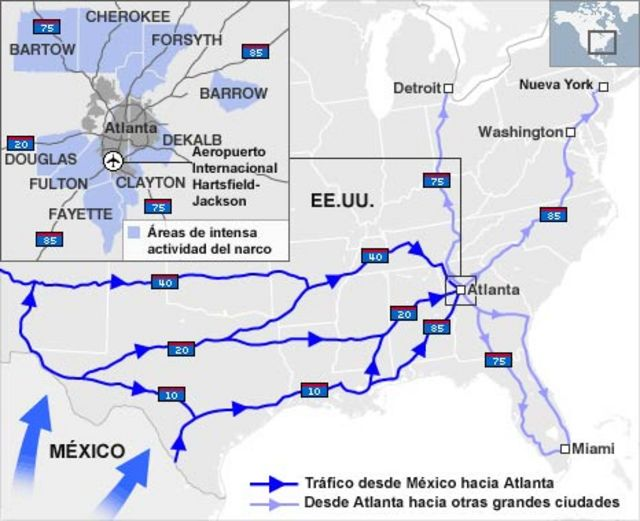 Mapa de las rutas