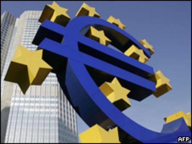 Signo del euro frente al Banco Central Europeo