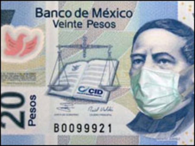 Billete de 20 pesos con un prócer llevando mascarilla