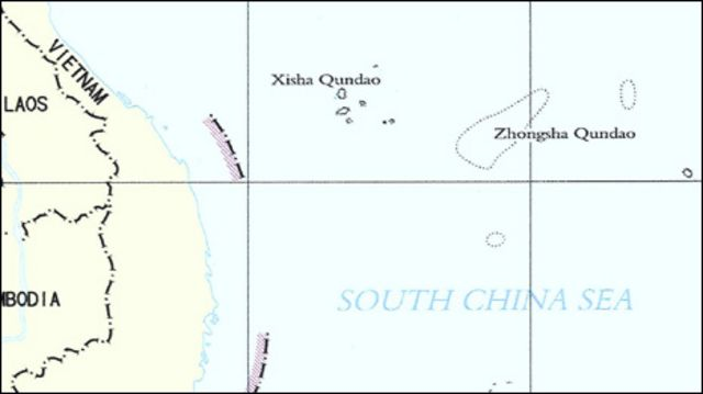 Bản đồ Biển Đông theo trình bày của Trung Quốc